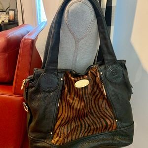 Fendi Bags - FENDI  Selleria Black Pebbled Leather Bag Gold
